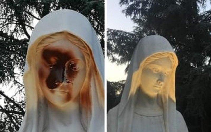 Madonnina deturpata al viso